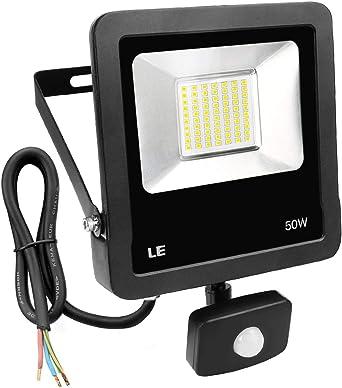 LE Foco LED con detector de movimiento, 50 W, 4000 lúmenes, foco ...