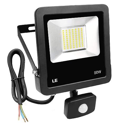 LE Foco LED con detector de movimiento, 50 W, 4000 lúmenes, foco LED