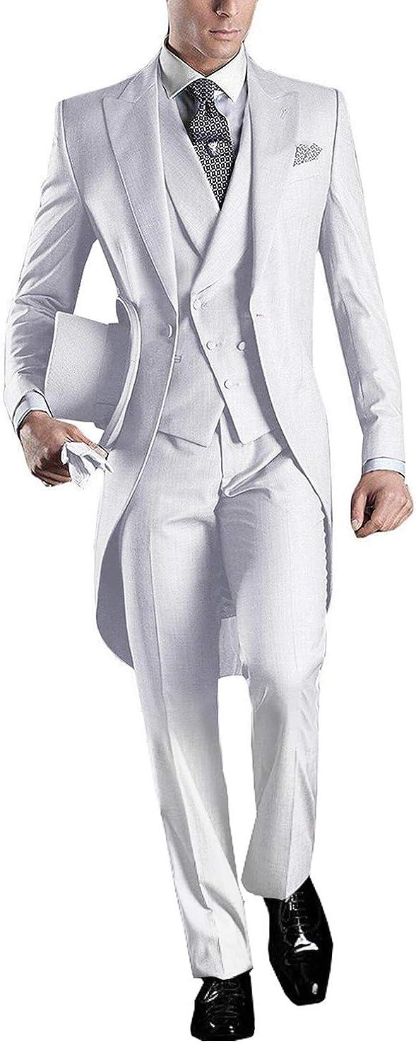GEORGE BRIDE Herren Anzug 5-Teilig Anzug Sakko,Weste,Anzug Hose,Krawatte,Tasche Platz 005
