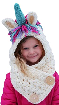 Unicorn Winter Hat Scarf Pocket Hooded Knitting - Perfect for Boys and  Girls to keep wrapped 279fb2a614e