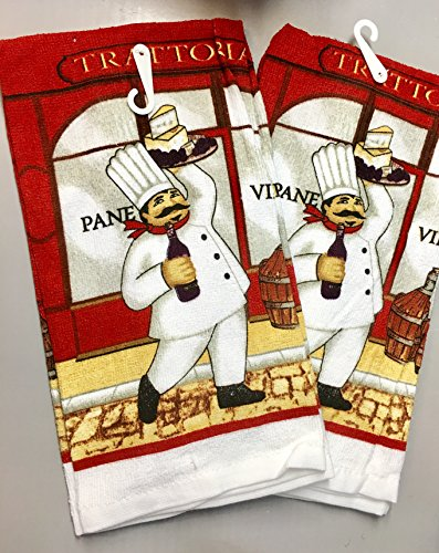 Better Home Printed Velour Kitchen Towel Set 2 Italian Chef