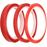 Super Sticky, Red Liner Double Sided Clear Tape, Pack of 3 sizes - 3mm, 6mm & 12mm (5mtrs per roll) Mobile Phone Repair, Office, DIY Crafts, Scrapbooks, Document Repair