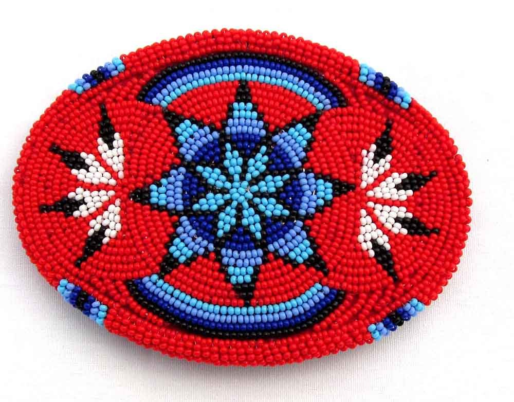 Handmade Red Blue Black Star Seed Beaded Classic Cowboy Classic& Western Geometric Bead Work Belt Buckle by Viva