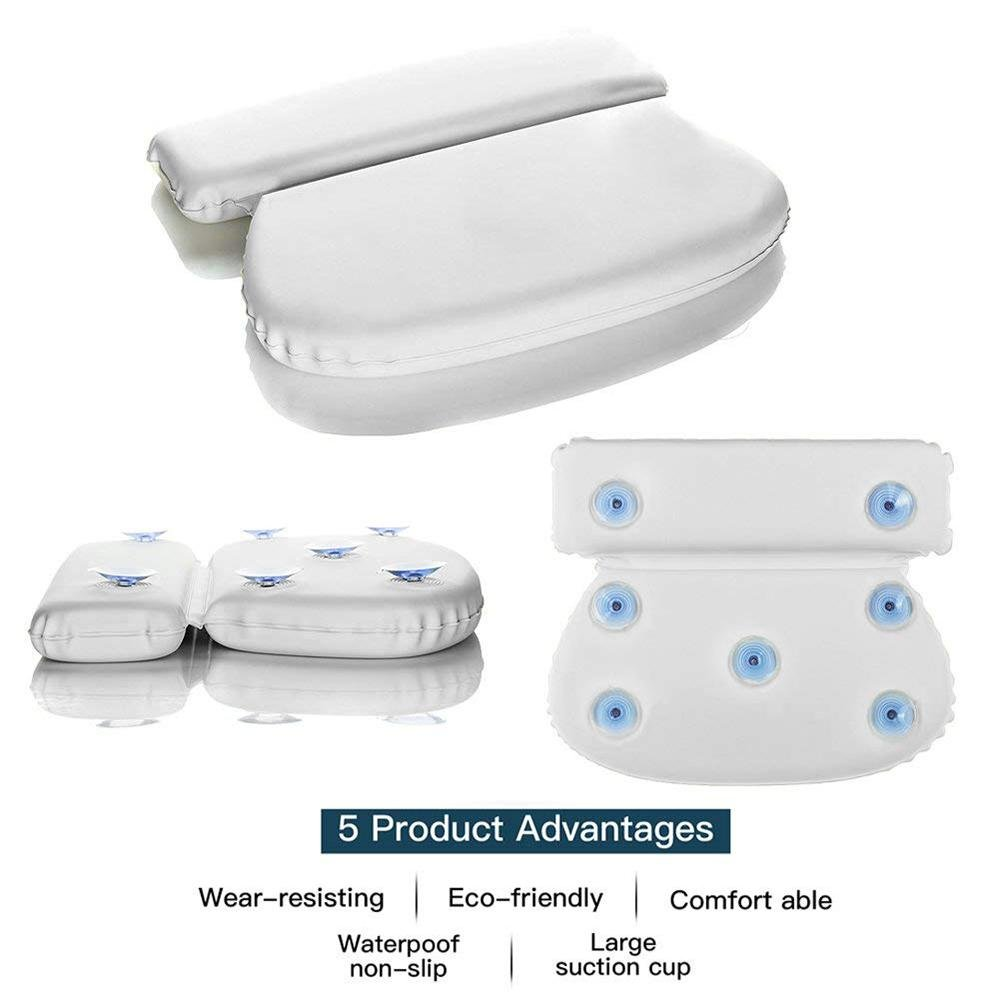 Aolvo Spa Tub Pillows, Non Slip Premium Bathtub Pillow with 7 Suction Cups for for Men, Women, Adults, Kids and Baby - Anti-Mold & Waterproof - for Back, Neck and Head Support in the Bathtub by Aolvo (Image #3)