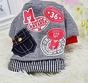 Idepet(TM) Pet Dog Cat Sweater Cotton Puppy Baseball Sweatshirt Uniform Teddy Clothes Chihuahua Clothing Poodle Apparel Size XS S M L XL XXL