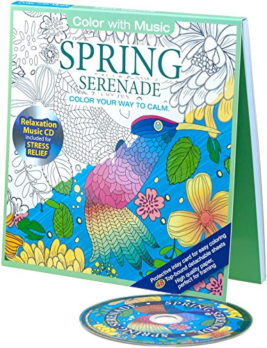 Spring Serenade Adult Coloring Book With Bonus Relaxation Music CD Included Color