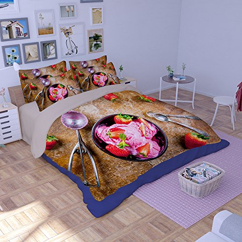 HIGOGOGO 5pcs Unique Pattern Printed Ice Cream Duvet Cover Set(1 Duvet Cover+1 Flat Sheet+1 Fitted sheet+2 Pillow Sham) Soft Polyester Microfiber Boys Girls Twin Full Queen Size(Full) Cordial Bath