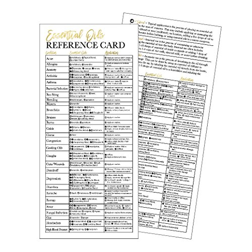 25 4x9 Essential Oil Reference Cards, Doterra or Young Living YL Distributor Bussiness Marketing Supplies, Educational Guide Sheet Charts For Beginners, Book Mark, Guidebook Handbook Quick Mini Manual (Pocket Chart Ideas)