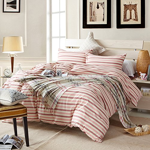 AMWAN Modern Red Striped Twin Duvet Cover Set 100% Washed Co