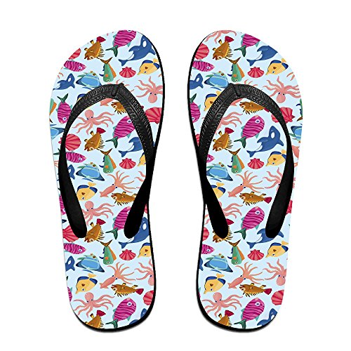 2a94a4e9c8df29 durable service Double Happiness Summer Unisex Fish Octopus Shells Classical  Comfortable Flat Beach Thong Sandal