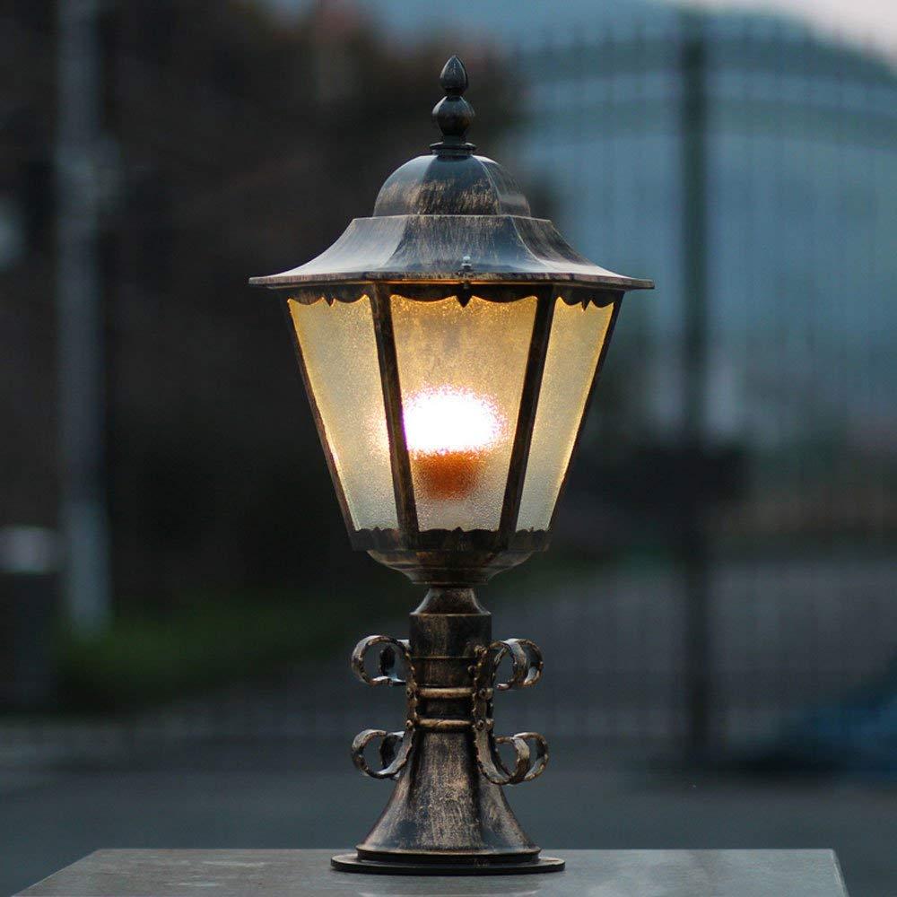 Wapipey E27 Aluminum Metal Glass Lampshade Pillar Lamp Outdoor Lamp Waterproof Rustproof Snowproof European Door Pillar Lantern Garden Villa Yard Bollard Light (Color : Bronze)