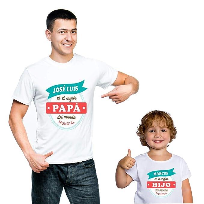 69726f1203f91 Calledelregalo Regalo Personalizado para Padres e Hijos  Pack de Dos  Camisetas  Mejor Padre y