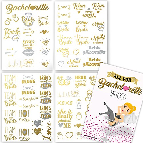 Bachelorette Party Tattoos - Gold & Silver Metallic Flash Temporary Tattoos, Mixed Set of 66 Bachelorette/Hen Party Favors by AllForBachelorette (Image #5)