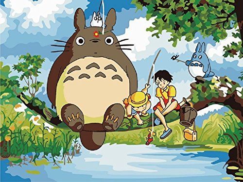 DIY Paint By Number Kits My Neighbor Totoro and boy fishing 16x20 inch Frameless
