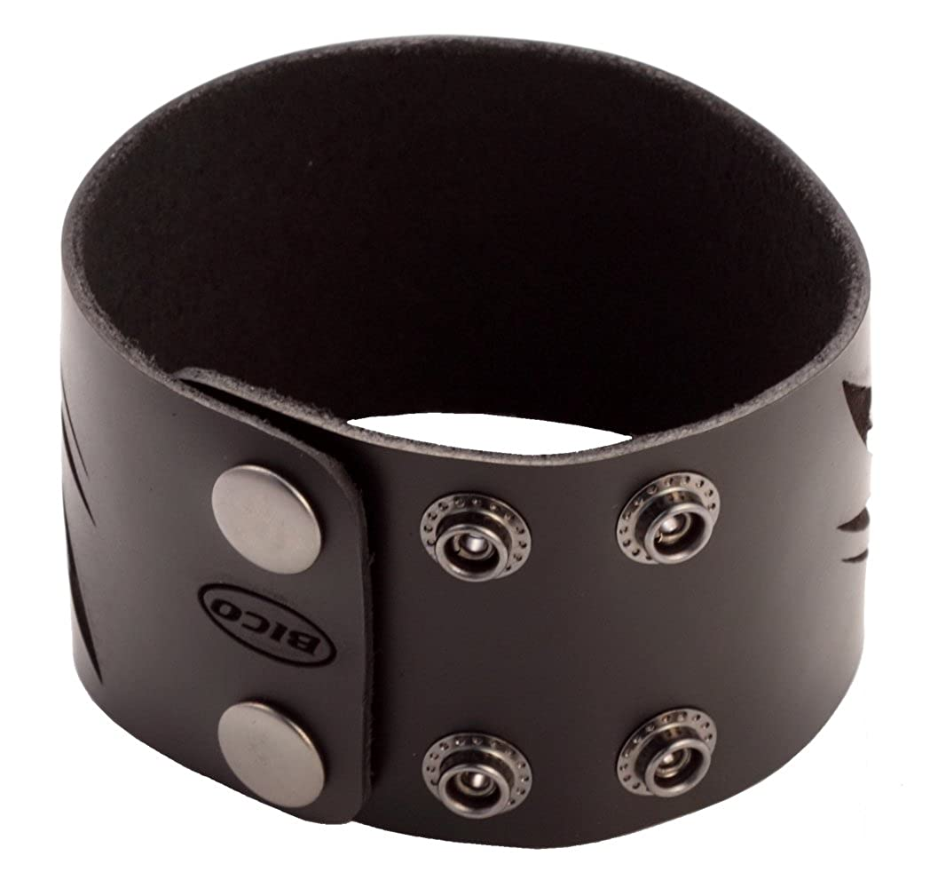 Bico Black Leather Cuffs Wrist Bands with a Metal Insert BWE3 Black