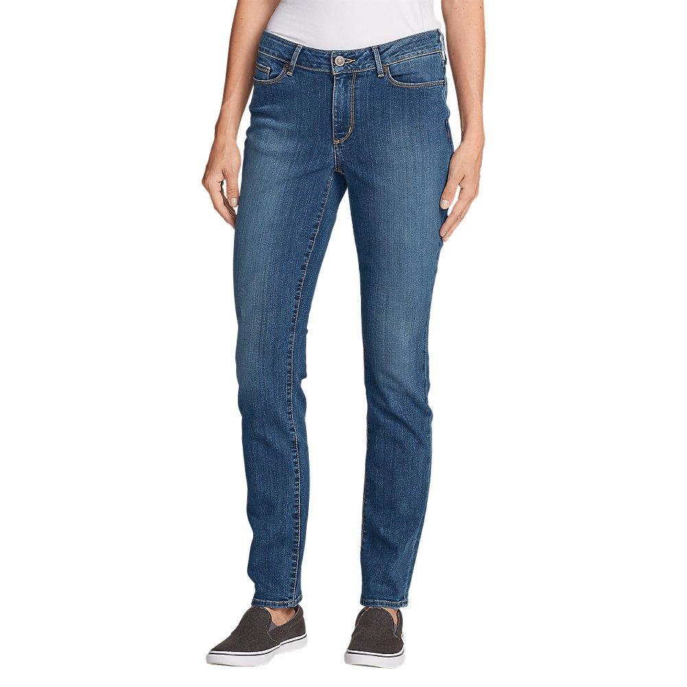 Eddie Bauer Women's StayShape Straight Leg Jeans - Curvy, Indigo Blue Petite 4