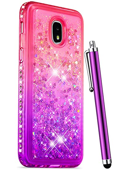 new product d27eb 099a0 CAIYUNL Glitter Case for Samsung Galaxy J3 2018 Case /J3 Achieve /J3  Star/Express Prime 3 /Amp Prime 3 Liquid Quicksand Sparkle Bling Rhinestone  Cute ...