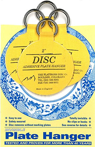 Flatirons Disc Adhesive Plate Hanger Set (4 - 2 Inch Hang...