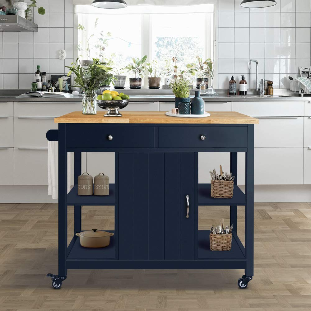 ChooChoo Kitchen Islands Cart on Wheels with Natural Rubber Wood Top, Utility Wood Kitchen Cart with Storage and Drawers, Easy Assembly - Navy Blue by ChooChoo (Image #5)