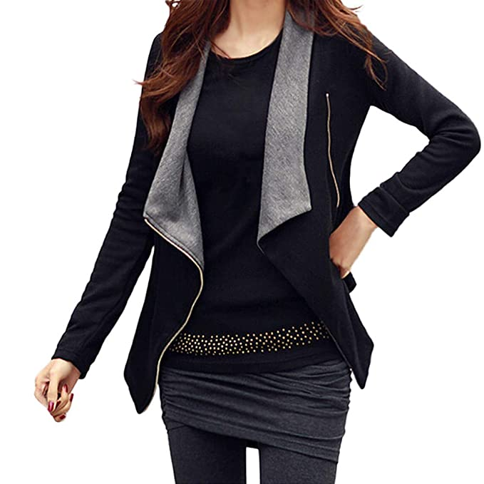 Amazon.com: Besde Womens Winter Casual Cardigan Thin Coat Solid Drape Front Open Zipper Tops Outcoats: Sports & Outdoors