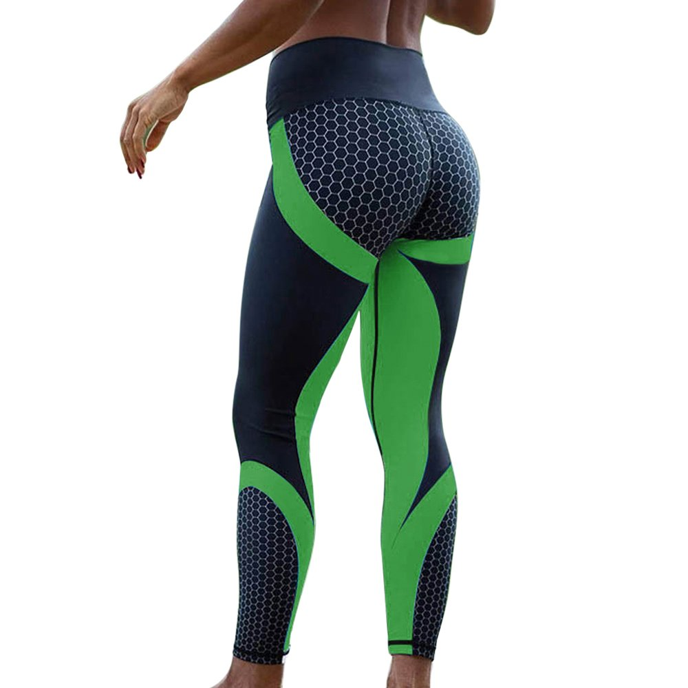 Shujin Damen Sommer D/ünne 9//10 Lang Sport Leggings Push-Up mit Mesh Muster Printed High Waist Skinny Hose Stretch Workout Yoga Pants