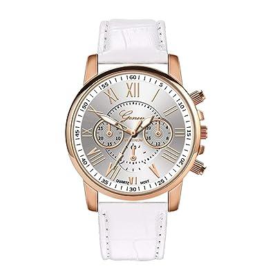 BBestseller Relojes de Pulsera de Pulsera de Acero Inoxidable de Cuarzo para Mujer Aleación Retro Impermeable Wristwatch (Blanco): Amazon.es: Relojes