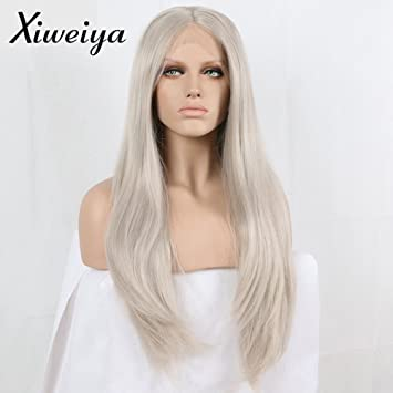 Amazon Com Long Hair Silver Platinum Blonde Lace Front Lace Wigs