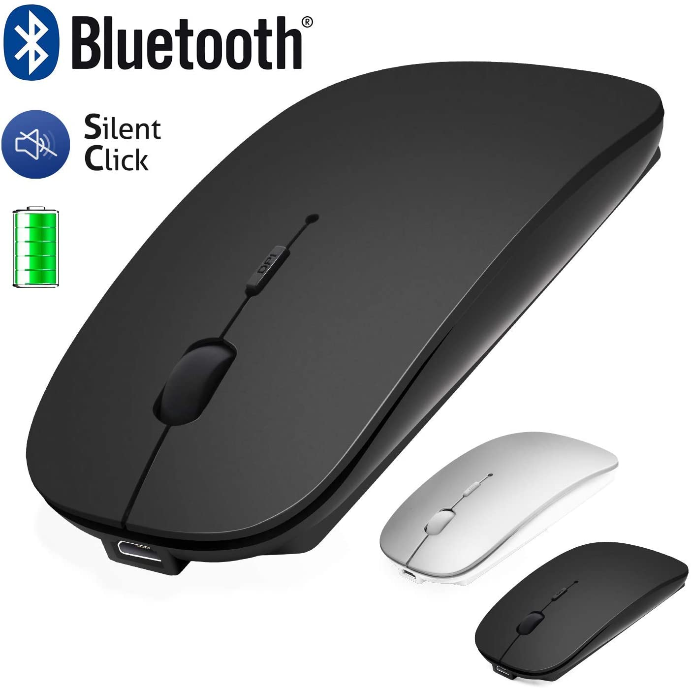 Ratón Bluetooth para Mac/iPad/iPhone (iOS13.1.2 y superiores) / Android PC/Ordenador, recargable sin ruido mini ratón inalámbrico para Windows/Linux/Mac, 3 DPI ajustable Bluetooth 4.0 + 2.4 G