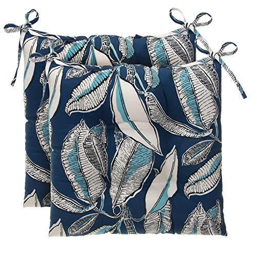 Glenna Jean Indoor/Outdoor Reversible Tufted Square Chair Cushion 2 Pack, San Juan - Navy