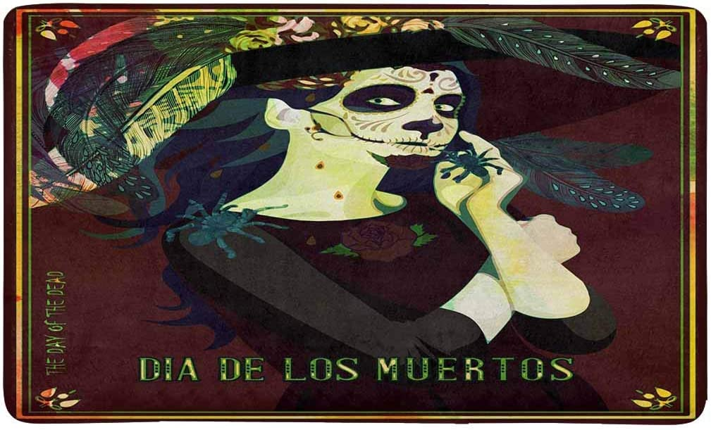INTERESTPRINT Sugar Skull Dia De Los Muertos Indoor Doormat X-Large 30 X 18 Inches Non Slip Front Entrance Door Mat Rug