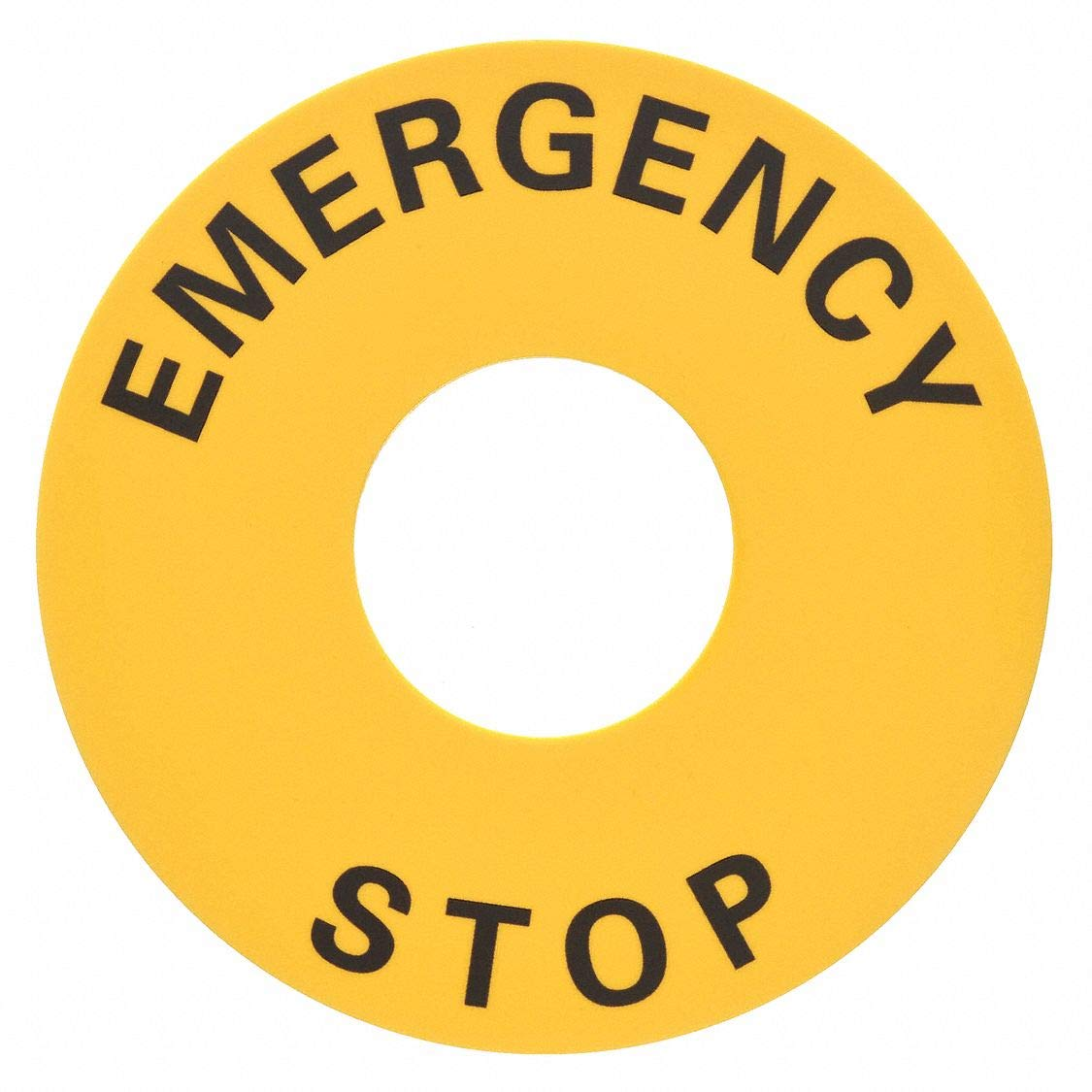 Legend Plate, Emergency Stop, Black/Yellow