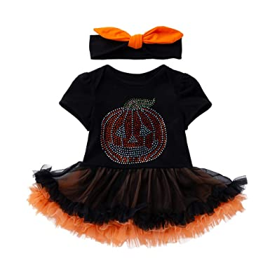 96ab184b9 PLOT Baby Girls Halloween Pumpkin Bow Party Dress Clothes Toddler ...