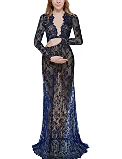 734a61fb30 Saslax Women's Off Shoulder Ruffle Sleeve Lace Maternity Gown Maxi  Photography Dress