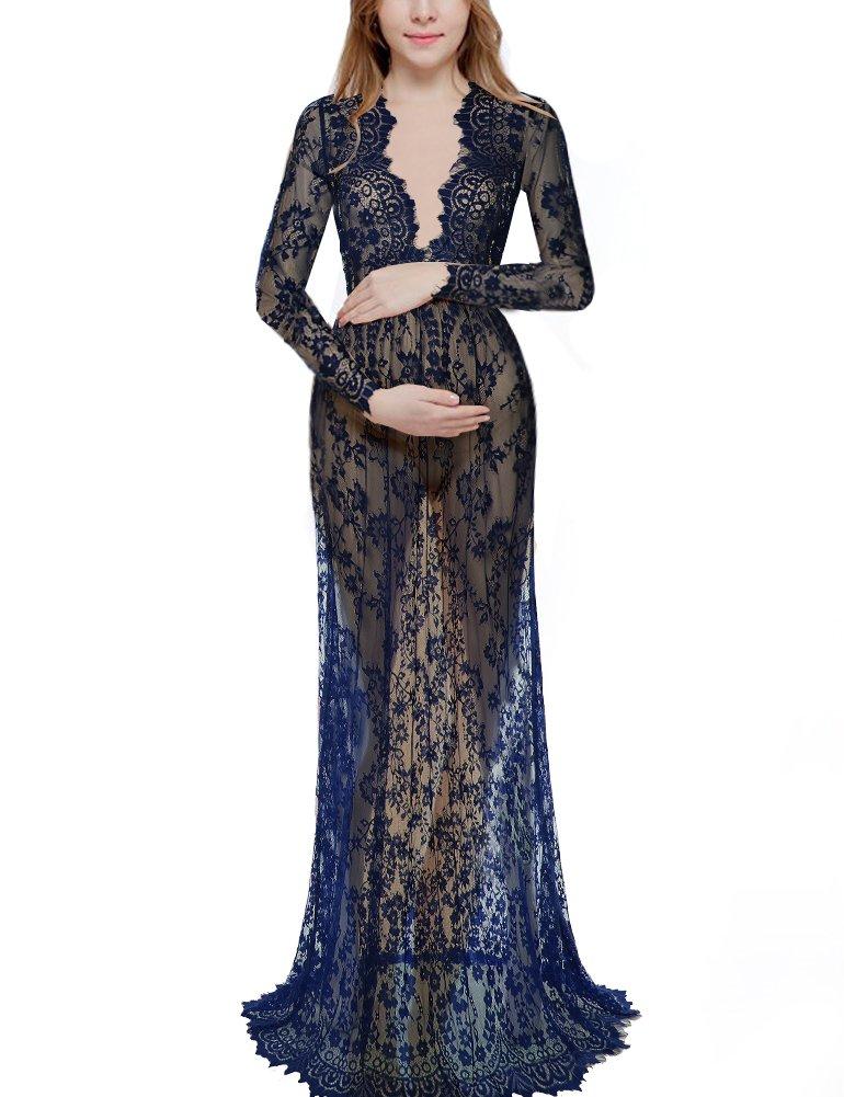 Saslax Women's Deep V-Neck Long Sleeve Lace See-through Wedding Maxi Dress,Blue,Small