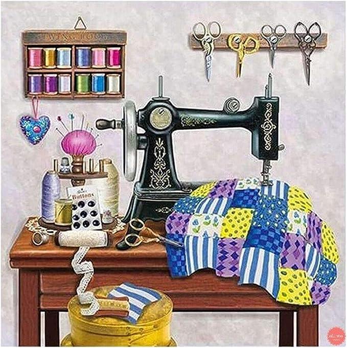 AIYIYOO máquina de coser bricolaje 5D Full Drill Diamond pintura bordado punto de cruz Kit Rhinestone decoración del hogar Craft, 4, As the picture shown: Amazon.es: Hogar