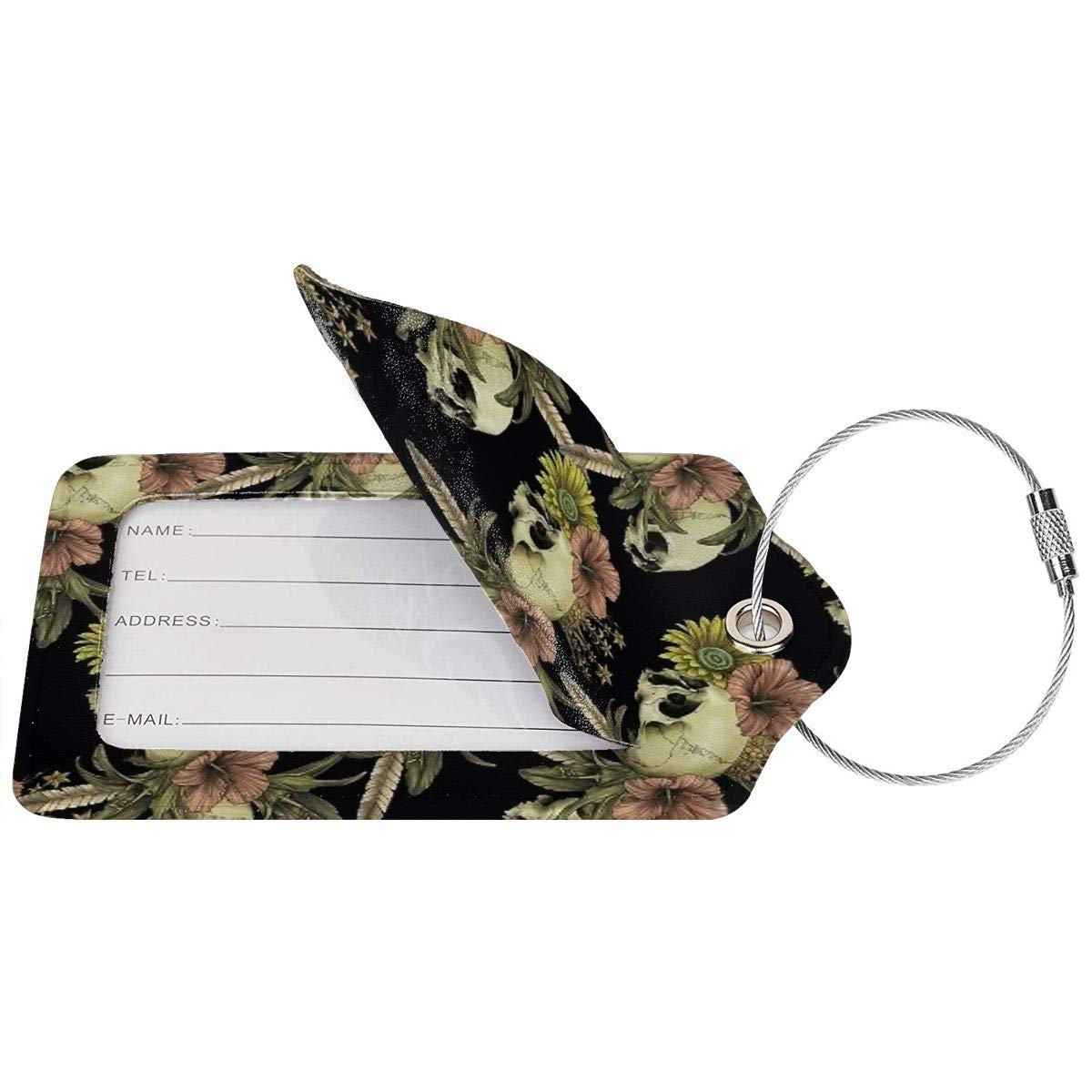 Vintage Skull Flower Luggage Tag Label Travel Bag Label With Privacy Cover Luggage Tag Leather Personalized Suitcase Tag Travel Accessories