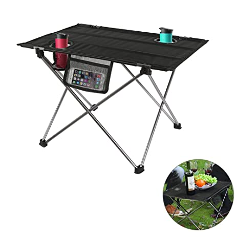 ROKOO Folding Camping Table, Ultralight Portable Roll Up Oxford Cloth Picnic  Table With Carrying Bag