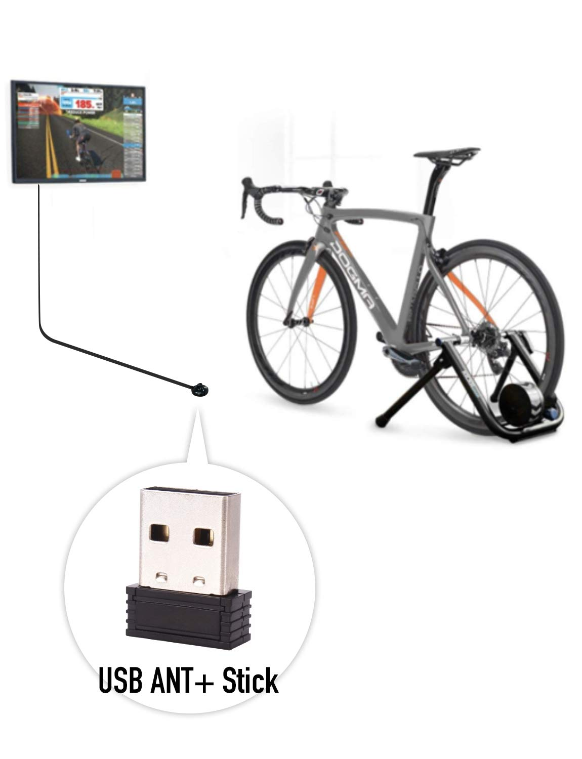 CooSpo ANT+ USB Stick Dongle Adapter with Extended USB 2.0 Cable 6.56Ft Suit for Cycling Indoor Compatible with Zwift Strava and More Apps