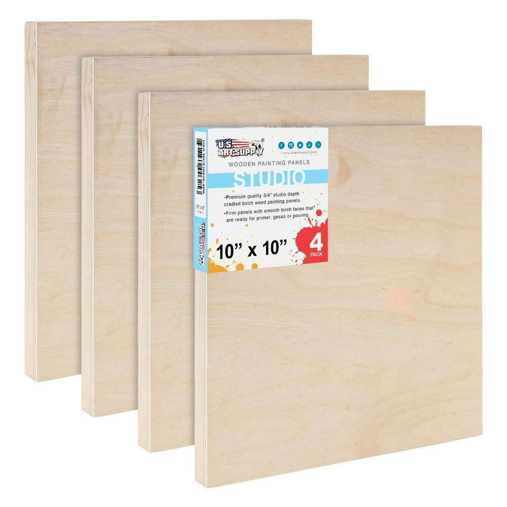 Perfect Very Sturdy and Durable 10''x 10'' Studio 3/4''Artist Depth Profile Wooden Panel Pouring Board Pack 4 by Generic