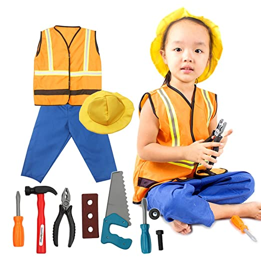 fedio 11Pcs Kid's Construction Worker Costume Dress up Role Play Set with Vest,Hat,Pants for Children Ages 3-6