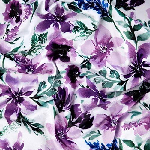 POLY//COTTON SPRIG FLORAL PRINT-ECRU DRESS FABRIC-FREE P/&P