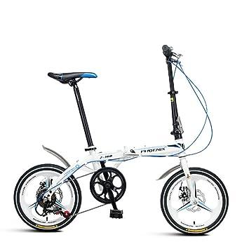 XQ Z160 Bicicleta Plegable Velocidad Variable 16 Pulgadas Adulto Bicicleta Portátil (Color : Blanco)