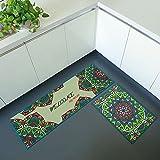 iisutas 2 Piece Non-Slip Kitchen Mat Runner Rug Set Doormat Vintage Design Kaleidoscope Garden,Green (15''x47''+15''x23'')