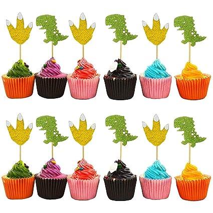 Pack de 24 adornos para cupcakes con diseño de dinosaurios y ...