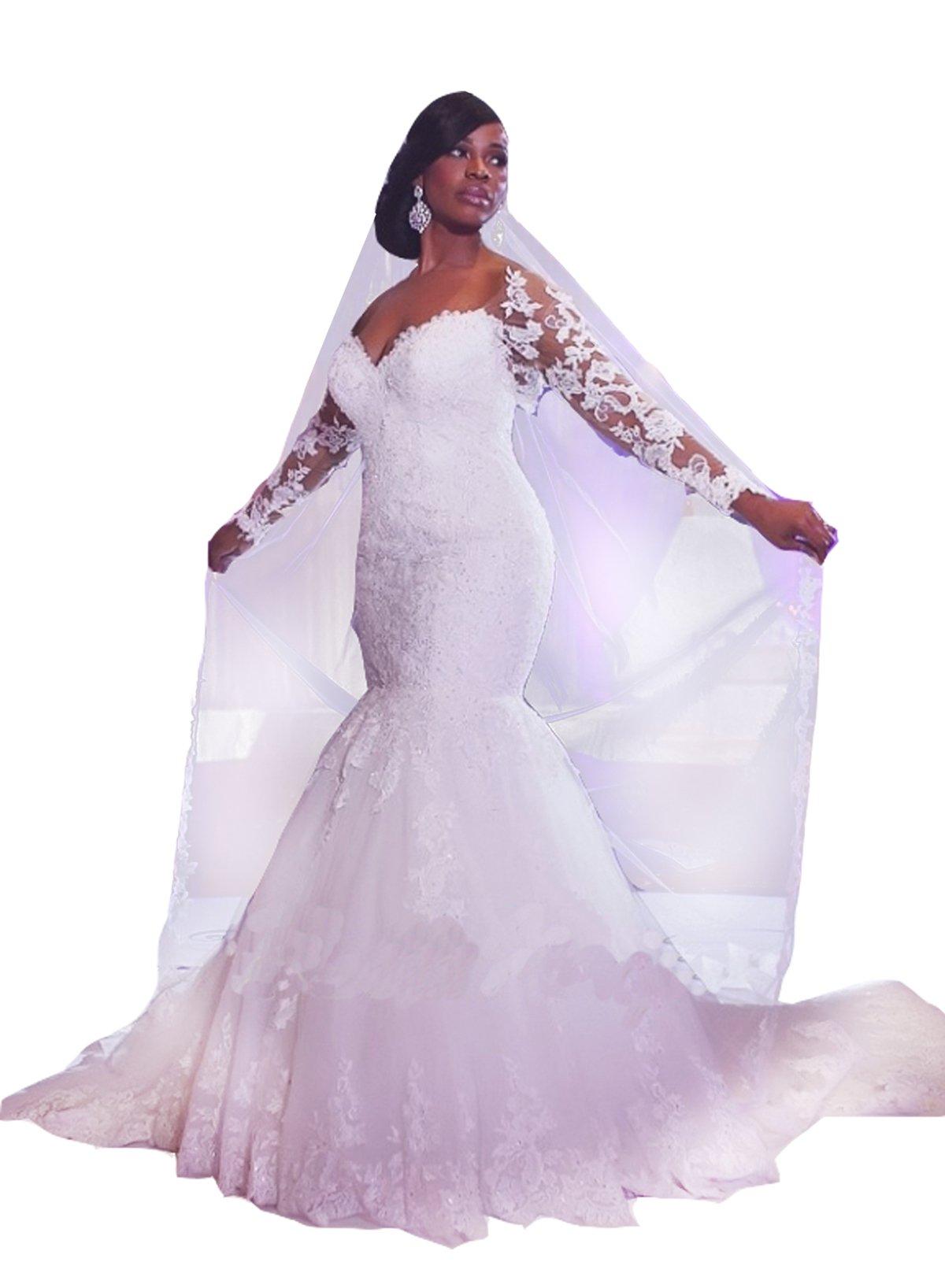 Diandiai Women Long Sleeve Lace Wedding Dresses Plus Size Mermaid Wedding  Dress White 18