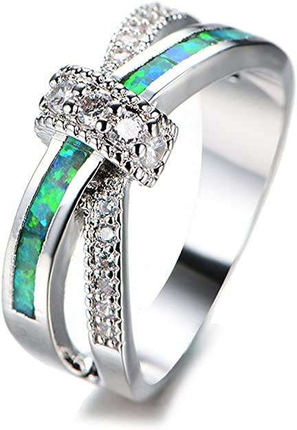 T/&F-Jewelry Green Fire Opal Green Zircon Rings For Women Wedding Ring Engagement Bridal Rings