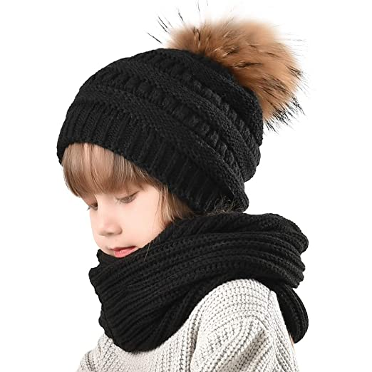 99c43cfd294 Girls Beanie Winter Hat Scarf Set - FURTALK Kids Boys Knit Slouchy Cap Hats  With Real