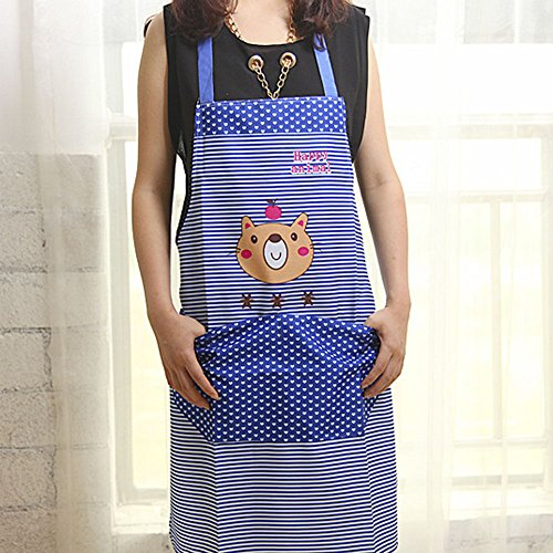 Stylish Cartoon Bear Stripe Dot Apron Waterproof Chef Kitchen Bib With Pocket (Colour: Blue) N@N