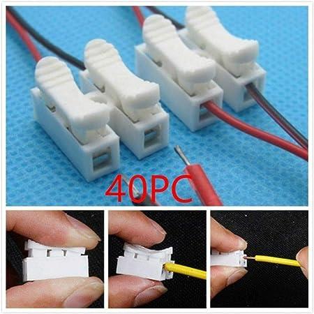 fgyhtyjuu Tornillos 40PCS Primavera Conector del Cable eléctrico Alambre de Soldadura Sin Abrazadera de Bloque de terminales de Empalme Tornillos de los ...