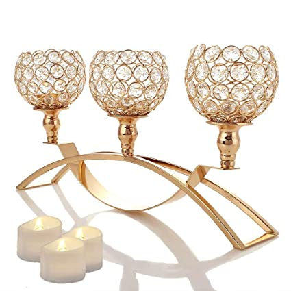 Amazon Manvi Gold Crystal Candle Holders 3 Metal